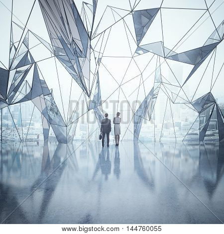 Business man and woman standing in abstract interior with shiny concrete floor and large polygonal window with city view. 3D Rendering