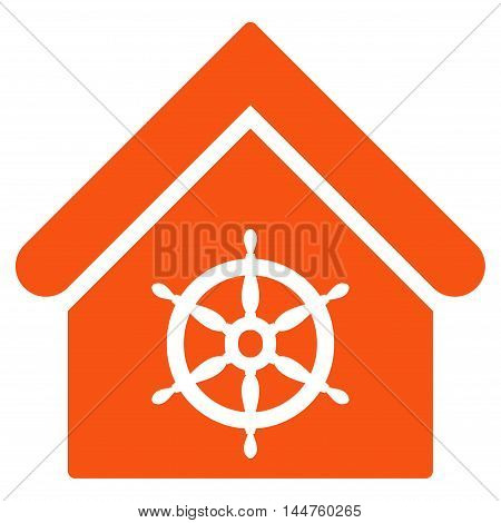 Steering Wheel House icon. Vector style is flat iconic symbol, orange color, white background.