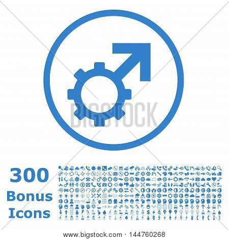 Technological Potence rounded icon with 300 bonus icons. Vector illustration style is flat iconic symbols, cobalt color, white background.
