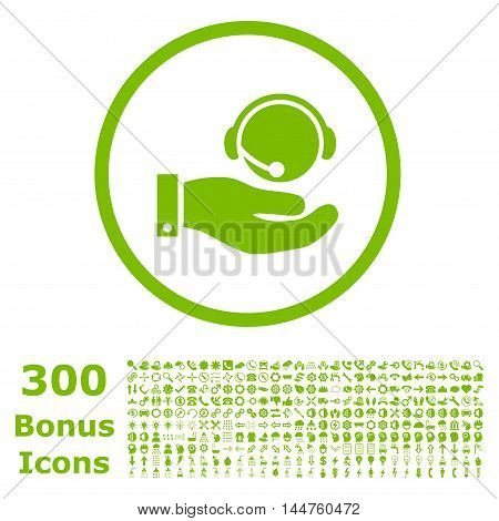 Call Center Service rounded icon with 300 bonus icons. Vector illustration style is flat iconic symbols, eco green color, white background.