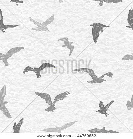 Grunge Seamless Pattern Of Flying Birds White Background. Vector Illustration