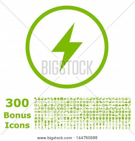 Electric Strike rounded icon with 300 bonus icons. Vector illustration style is flat iconic symbols, eco green color, white background.