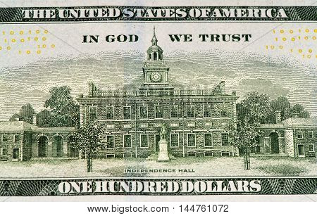 Independence hall on a 100 US dollars bank note made in 2009