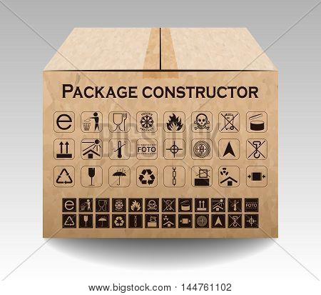 Vector Package Box Isolated On White. Packaging Symbols.  Icon Set Including Waste Recycling, Fragil