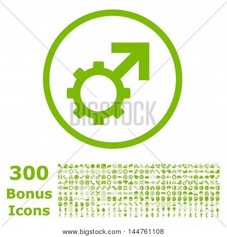 Technological Potence rounded icon with 300 bonus icons. Vector illustration style is flat iconic symbols, eco green color, white background.