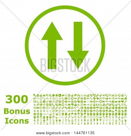Vertical Flip Arrows rounded icon with 300 bonus icons. Vector illustration style is flat iconic symbols, eco green color, white background.