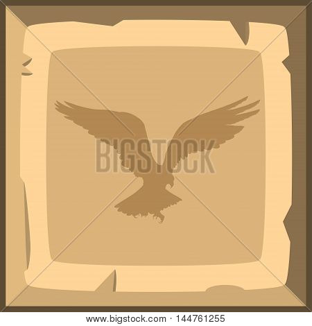 Hand Drown Old Bronze Ingot Tile With Eagle Emblem. Vector Illustration