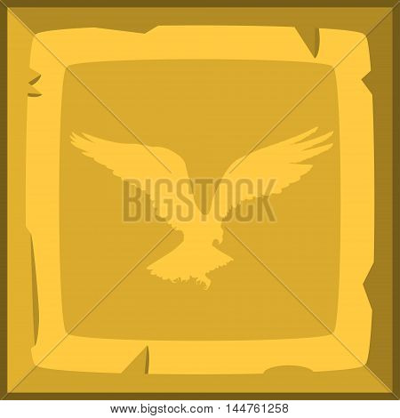 Hand Drown Old Gold Ingot Tile With Eagle Emblem. Vector Illustration