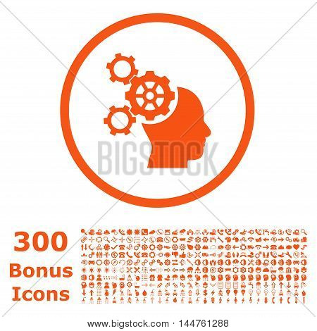 Brain Mechanics rounded icon with 300 bonus icons. Vector illustration style is flat iconic symbols, orange color, white background.