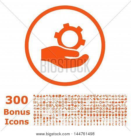 Engineering Service rounded icon with 300 bonus icons. Vector illustration style is flat iconic symbols, orange color, white background.