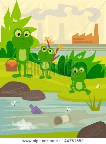 Frogs on a picnic day, looking at a dirty river, with a view of a factory behind them. Eps10
