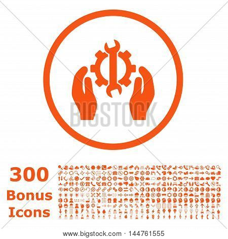 Repair Service rounded icon with 300 bonus icons. Vector illustration style is flat iconic symbols, orange color, white background.
