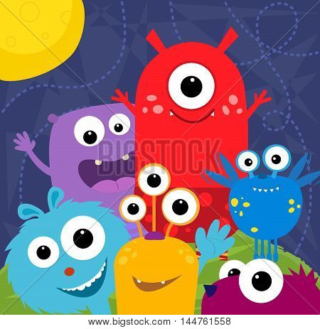 Colorful and cute monsters greeting card design. Eps10