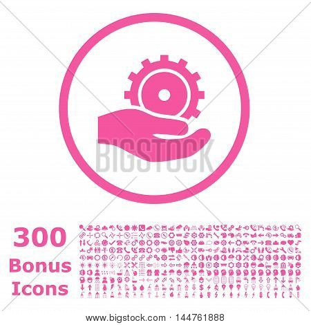 Development Service rounded icon with 300 bonus icons. Vector illustration style is flat iconic symbols, pink color, white background.