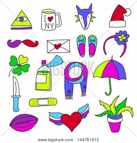 Set cartoon patch badges or fashion pin badges.Dog, shoe, cup, knife, umbrella, patch, letter, heart, christmas hat hand drawn vector full color sketch.