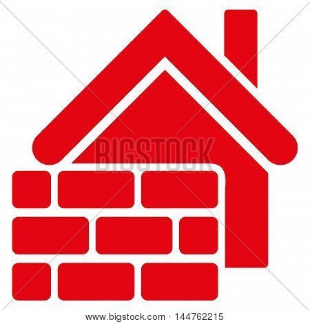 Realty Brick Wall icon. Vector style is flat iconic symbol, red color, white background.