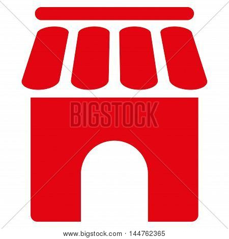 Shop Building icon. Vector style is flat iconic symbol, red color, white background.