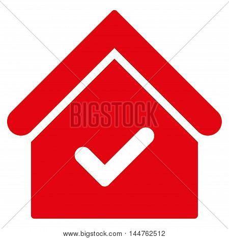 Valid House icon. Vector style is flat iconic symbol, red color, white background.