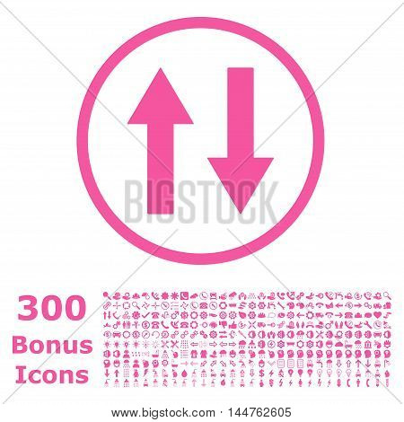 Vertical Flip Arrows rounded icon with 300 bonus icons. Vector illustration style is flat iconic symbols, pink color, white background.