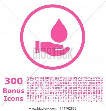 Water Service rounded icon with 300 bonus icons. Vector illustration style is flat iconic symbols, pink color, white background.
