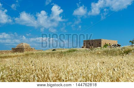 Ruins Of Old Fortress And Town In Rethymno
