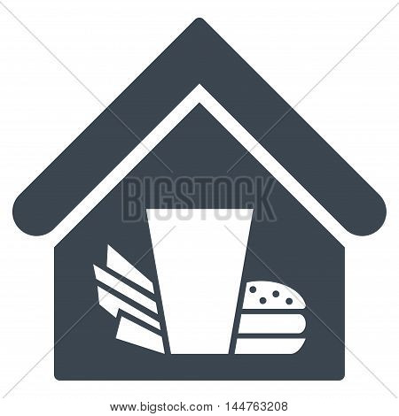 Fastfood Cafe icon. Vector style is flat iconic symbol, smooth blue color, white background.