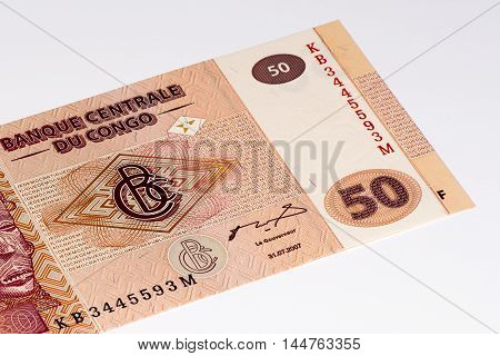 50 Congolese francs bank note of Congo. Congoles franc is the national currency of Congo