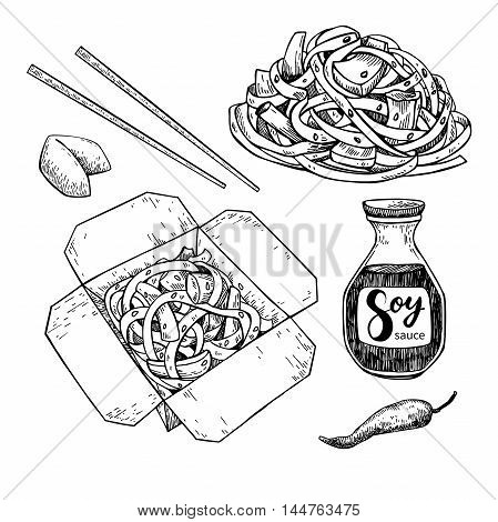 Wok vector drawing set. Isolated chinese box and chopsticks with noodles vegetables and soy sauce. Hand drawn detailed fast asian food illustration. Great for banner poster menu decor