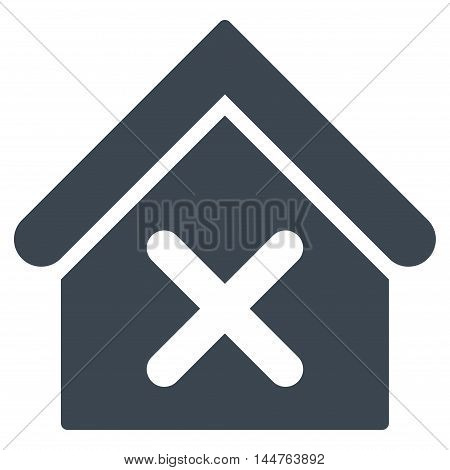 Wrong House icon. Vector style is flat iconic symbol, smooth blue color, white background.