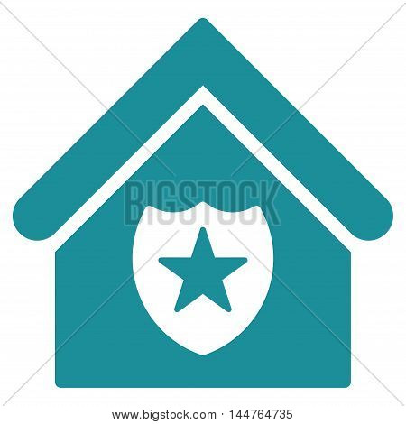 Realty Protection icon. Vector style is flat iconic symbol, soft blue color, white background.