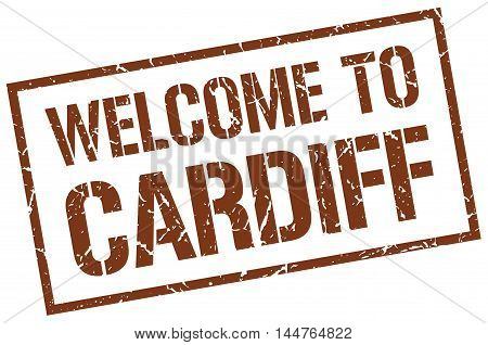 welcome to Cardiff. stamp. grunge square sign