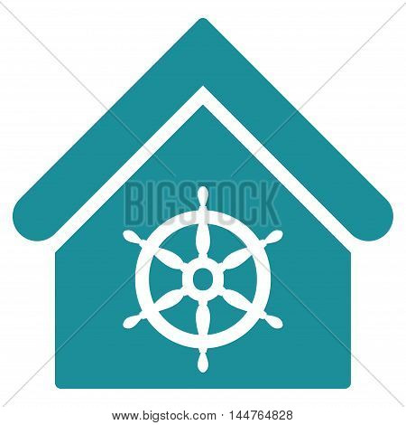 Steering Wheel House icon. Vector style is flat iconic symbol, soft blue color, white background.