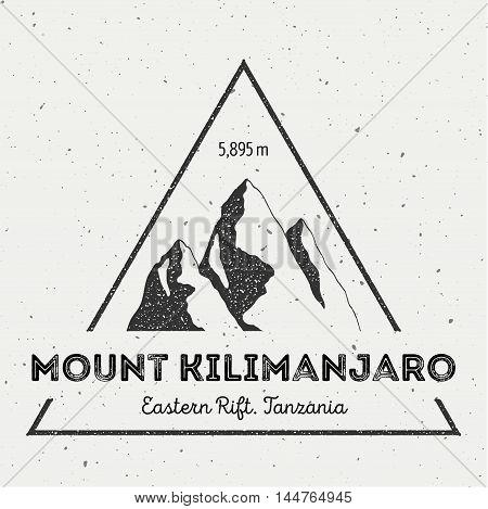 Kilimanjaro In Eastern Rift, Tanzania Outdoor Adventure Logo. Triangular Mountain Vector Insignia. C