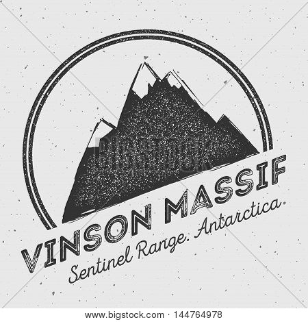 Vinson Massif In Sentinel Range, Antarctica Outdoor Adventure Logo. Round Mountain Vector Insignia.