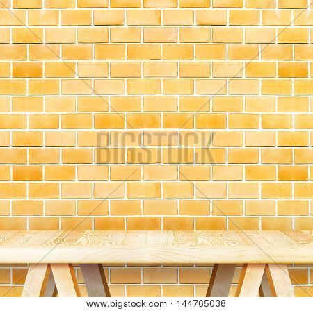 Blank Modern Wooden Table With Leg At Orange Brick Wall ,template Mock Up For Display Of Product