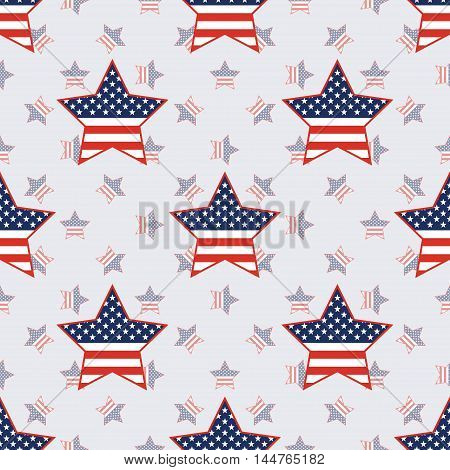 Usa Patriotic Stars Seamless Pattern On American Stars Background. American Patriotic Wallpaper With