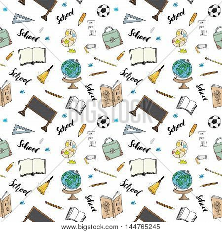 School Seamless Pattern Handdrawn Doodles, Vector Illustration
