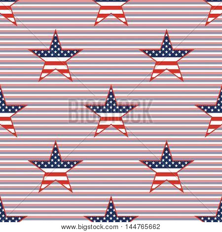 Us Patriotic Stars Seamless Pattern On Red And Blue Diagonal Stripes Background. American Patriotic
