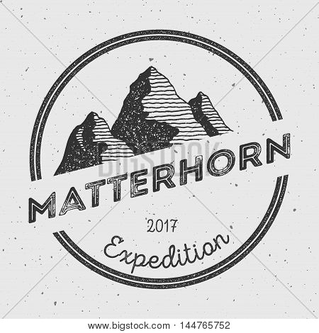 Matterhorn In Alps, Italy Outdoor Adventure Logo. Round Expedition Vector Insignia. Climbing, Trekki