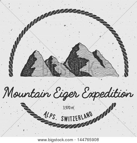 Eiger In Alps, Switzerland Outdoor Adventure Logo. Round Trekking Vector Insignia. Climbing, Trekkin