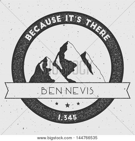 Ben Nevis In Grampian Mountains, Great Britain Outdoor Adventure Logo. Round Climbing Vector Insigni