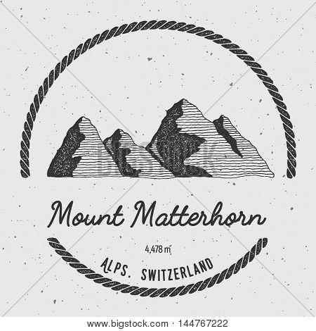 Matterhorn In Alps, Italy Outdoor Adventure Logo. Round Trekking Vector Insignia. Climbing, Trekking
