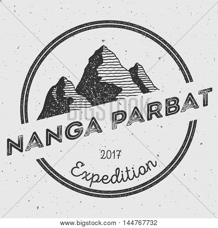 Nanga Parbat In Himalayas, Pakistan Outdoor Adventure Logo. Round Expedition Vector Insignia. Climbi