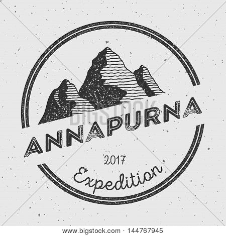 Annapurna In Himalayas, Nepal Outdoor Adventure Logo. Round Expedition Vector Insignia. Climbing, Tr
