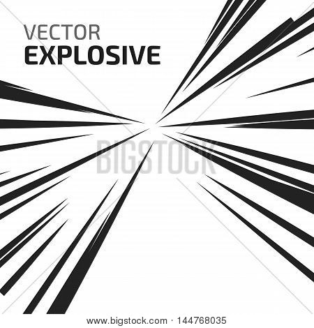 Abstract vector rays on white background. Explosive illustration with dynamic shapes. Holiday firework with text template. Dynamite burst. Dynamic blast elements.