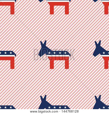 Broken Democrat Donkeys Seamless Pattern On Red Stripes Background. Usa Presidential Elections Patri