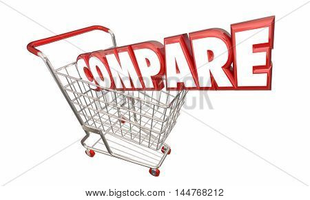 Compare Shopping Cart Comparison FInd Best Price Value 3d Illustration