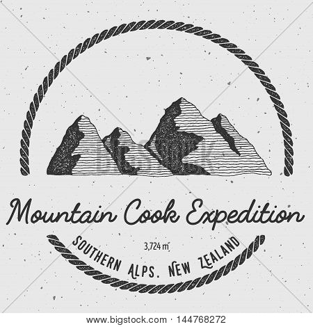 Cook In Southern Alps, New Zealand Outdoor Adventure Logo. Round Trekking Vector Insignia. Climbing,