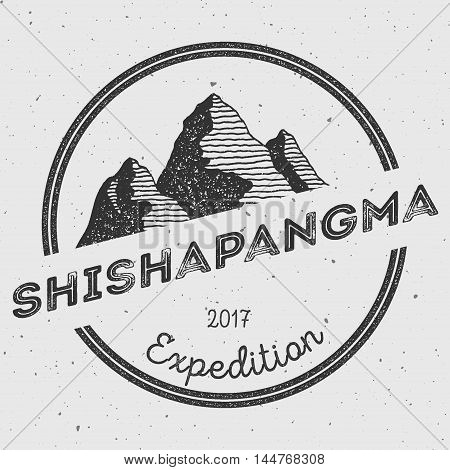 Shishapangma In Himalayas, Tibet Outdoor Adventure Logo. Round Expedition Vector Insignia. Climbing,