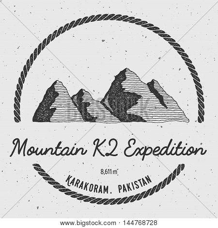 K2 In Karakoram, Pakistan Outdoor Adventure Logo. Round Trekking Vector Insignia. Climbing, Trekking